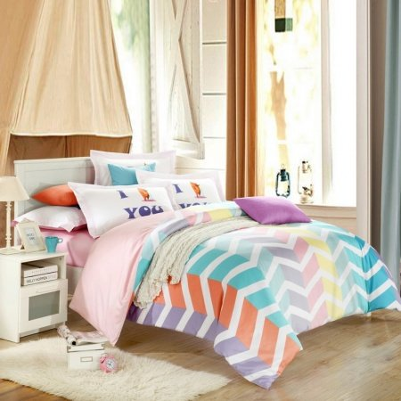 Orange Turquoise Pink Purple and White Bright Colorful Zig Zag Stripe Modern Chic Abstract Design Unique Damask Full, Queen Size Bedding Sets