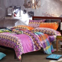 Purple Orange and Blue Zig Zag Stripe Gypsy Themed Bohemian( BOHO ) Style Abstract Design 100% Brushed Cotton Full, Queen Size Bedding Sets