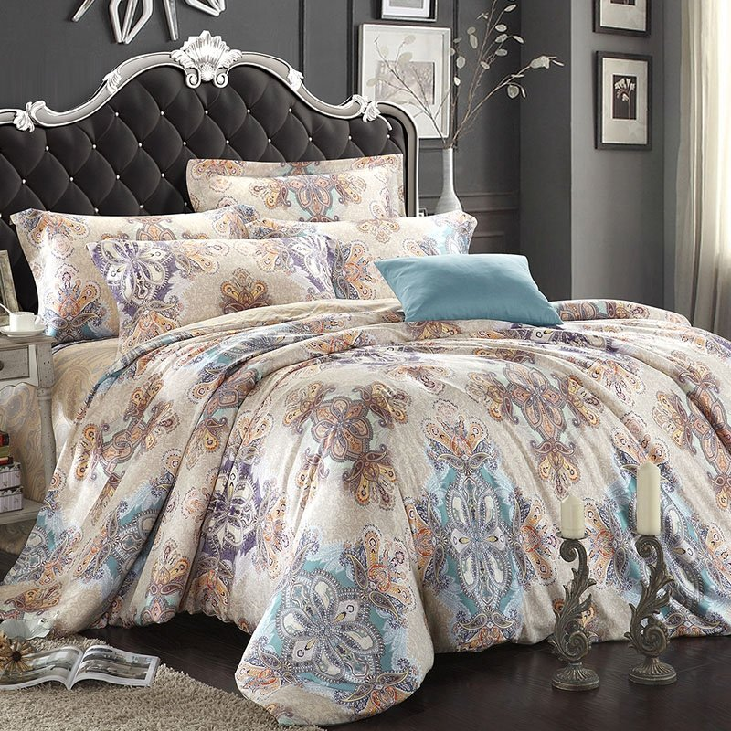 Light Blue Beige and Brown Bohemian( BOHO ) Style Gypsy Themed Paisley Park Tribal Print Luxury 100% Tencel Full, Queen Size Bedding Sets