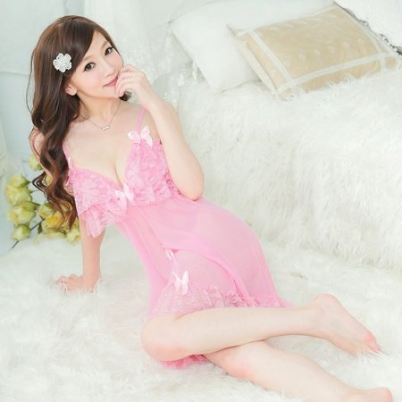 Pale Pink Sexy See-through Grenadine Seductive Hollow Out Lace Flower Girls Princess Cute Bowknot V-neck Split Skirt Thong Babydoll Pajamas