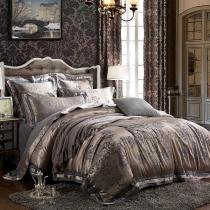Silver and Grey Rococo Pattern Exotic Retro and Royal Style Western Themed Unique Jacquard Design Satin Full, Queen Size Bedding Sets