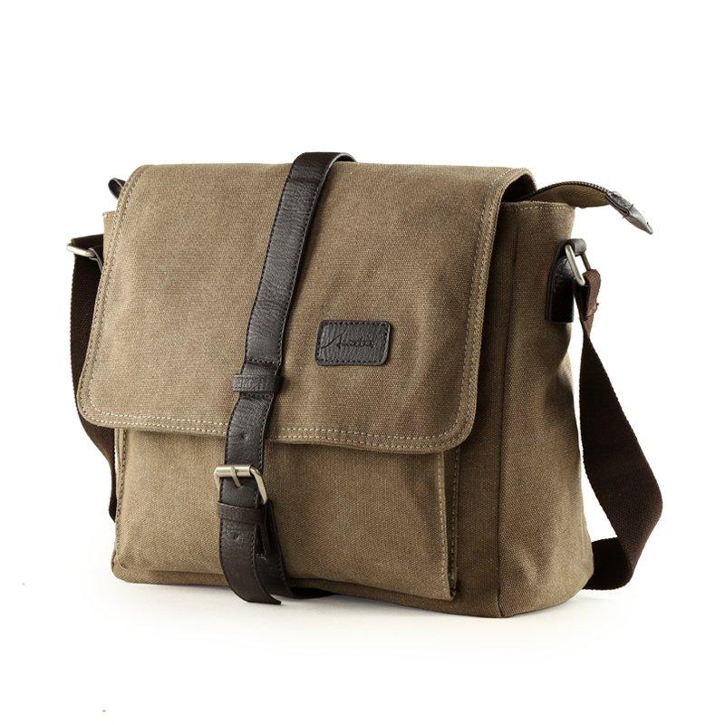Coffee Brown Canvas Retro Korean Style Messenger Bag Vogue Preppy Crossbody School Bag Take Cover Zipper Applique Men Single Shoulder Bag