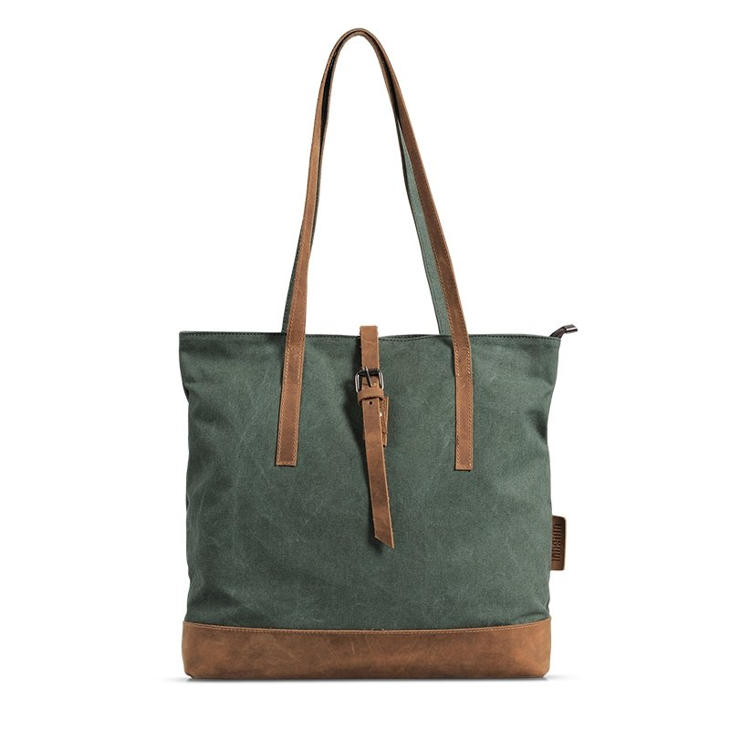 Sea Green Canvas Single Shoulder Bag Durable Casual Retro Korean Style Ultra-lightweight Zipper Hasp Unisex Sewing Pattern Medium Tote Bag