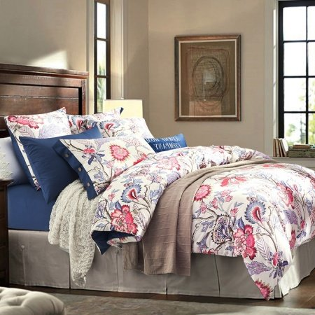 Hot Pink Blue and White Rustic Flower Garden Images Vintage Southwestern Style Tropical 100% Cotton Damask Full, Queen Size Bedding Sets