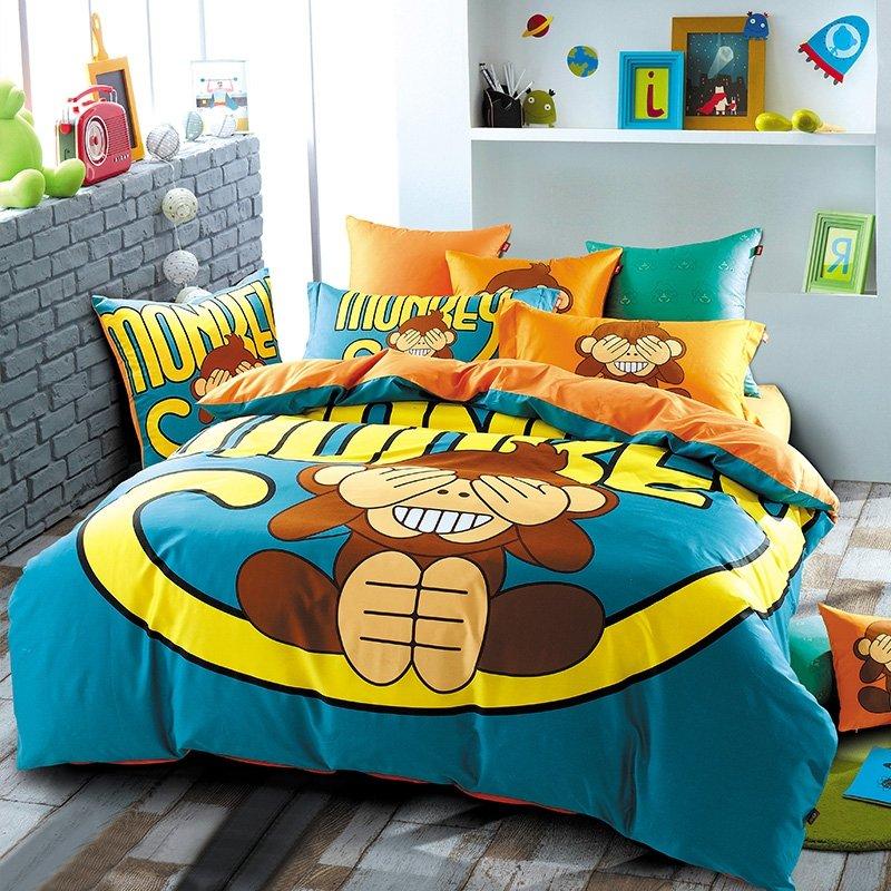 Teal Yellow Brown And Orange Jungle Safari Themed Cartoon