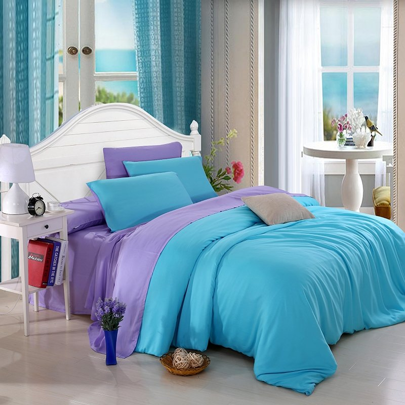 Acid Blue and Lavender Luxury Fashion Traditional Plain Colored Noble Excellence Western Style Microfiber Tencel Full, Queen Size Bedding Sets