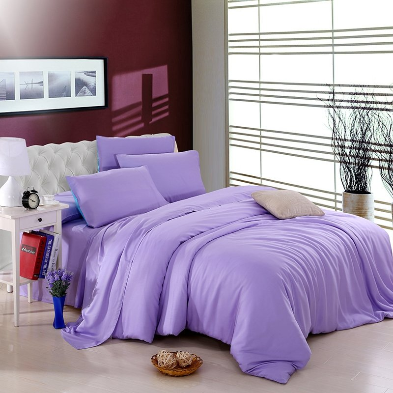All Violet Plain Colored Modern Chic Luxury Noble Excellence Expensive Unique Girls Microfiber Tencel Percale Full, Queen Size Bedding Sets