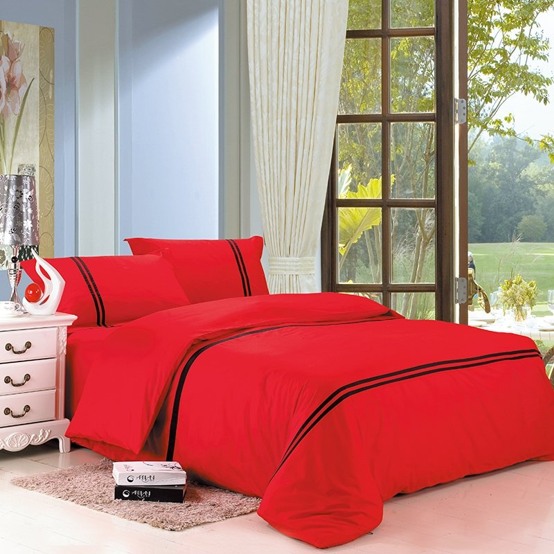 Pure Colored Red with Black Stripe Modern Chic Simply Chic Traditional Noble Excellence Unique 100% Cotton Full, Queen Size Bedding Sets