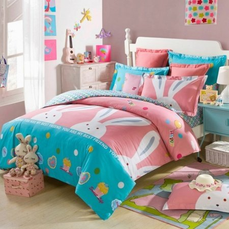 Sky Blue Pink and White Cartoon Animal Rabbit Print Modern Chic Hipster Style Girls 100% Cotton Twin, Full Size Bedding Sets