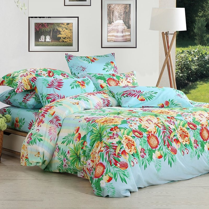 Light Blue Green and Red Bright Colorful Tropical Botany Rustic Pomegranate Tree and Flower 100% Cotton Full, Queen Size Bedding Sets