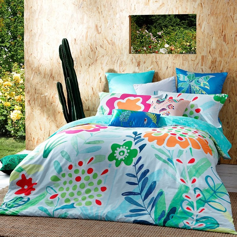 Turquoise Green Red and Orange Rustic Style Tropical Botany Wildflowers Print Luxury 100% Cotton Damask Full, Queen Size Bedding Sets