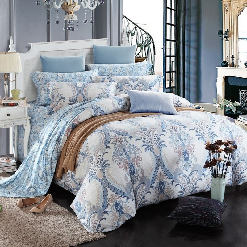 Light Blue and Gray Paisley Pop Print Victorian Gothic Pattern Bohemian Style Unique 100% Brushed Cotton Full, Queen Size Bedding Sets