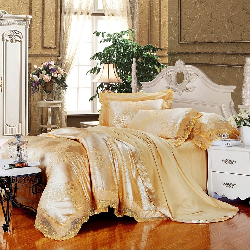 Royal Golden Gothic Pattern Royal Palace Style Gorgeous Noble Excellence Lace Jacquard Design Full, Queen Size Bedding Sets