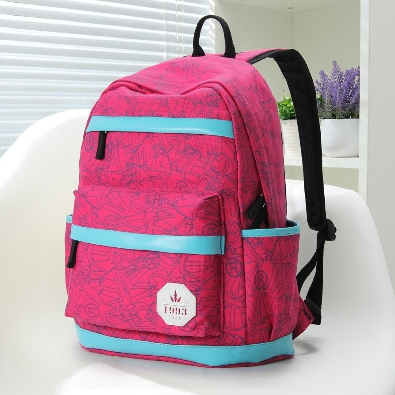 Coral Red Durable Canvas with Blue Leather Trim Girls School Backpack Vogue Geometric Printed Sewing Pattern Casual Travel Bag