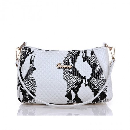 Black White Snake Serpentine Embossed Patent Leather Baguette Bag Fine Luxury European Style Rome Tote Casual Party Crossbody Purse