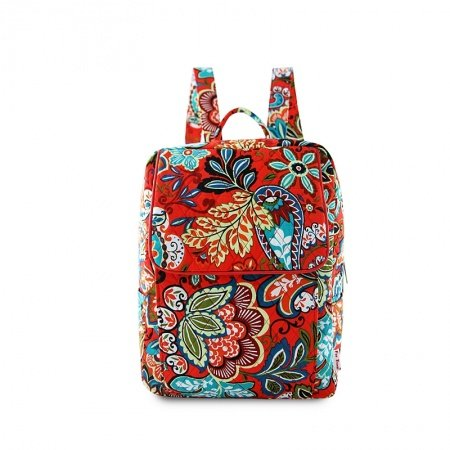 Colorful Paisley Floral Print Flap Junior School Book Bag Durable Canvas Bohemian Western Style Vintage Casual Travel Backpack