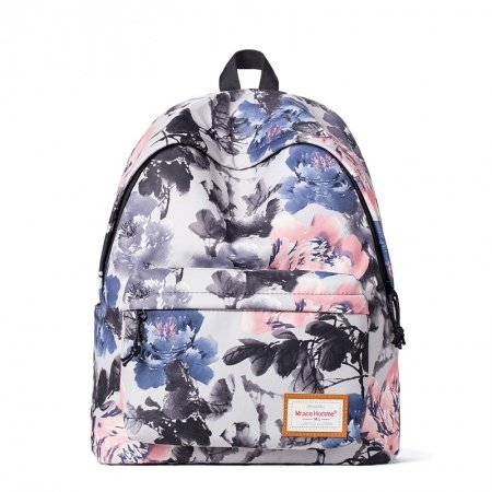 Durable Polyester Vintage Chinese-inspired Wash Painting Peony Print Travel Backpack Grey Blue Pink Vogue Preppy Style School Bag