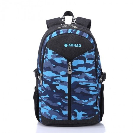 Aqua Blue and Black Personalized Camouflage Print Travel Backpack Trendy Preppy Style Durable Canvas Junior School Book Bag