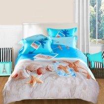 Ocean Blue Beige and Brown Seashell and Starfish Print Marine Life Tropical Beach Themed Full, Queen Size 100% Cotton Bedding Sets