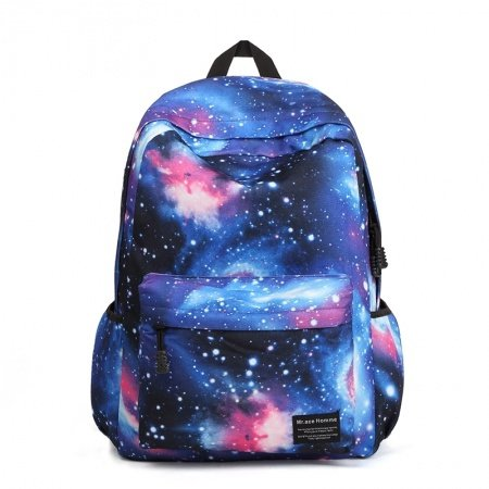 Stylish Durable Nylon Cool Trendy Travel Backpack Black Blue White Pink Galaxy Scene Nebula Print Preppy Style School Bag