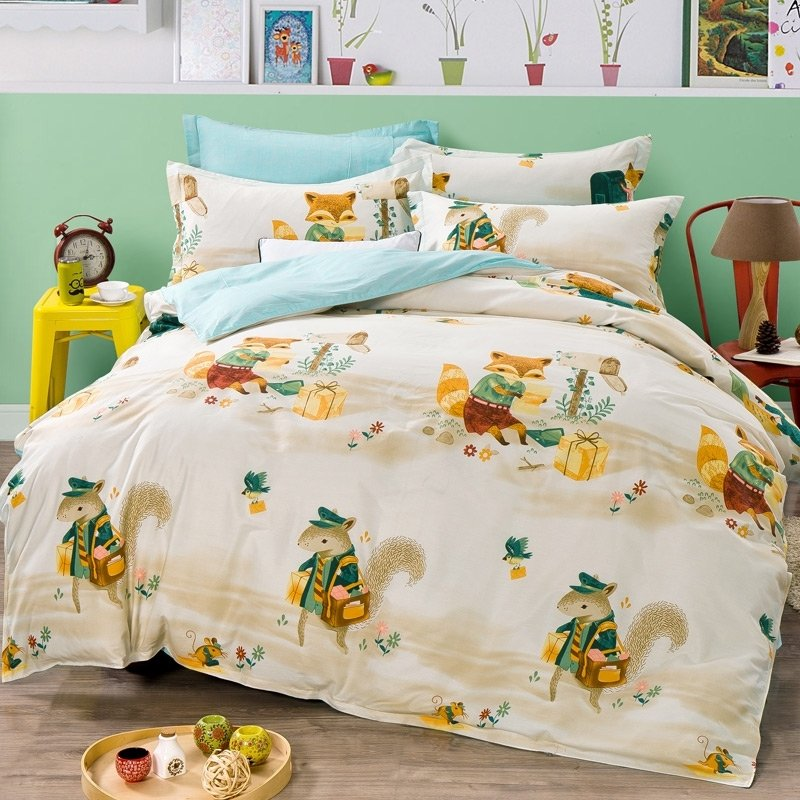 Forest Green Yellow and Cream Forest Animal Friends African Safari Themed Shabby Chic 100% Cotton Twin, Full Size Bedding Sets
