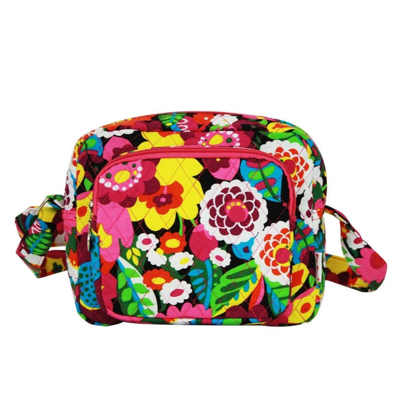 Durable Canvas Stylish Girls Small Box-shaped Shoulder Bag Colorful Garden Floral Print Boutique Personalized Casual Crossbody Bag