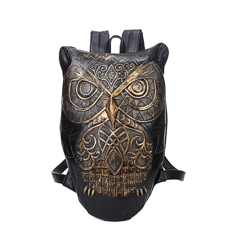 Personalized 3D Owl-shaped Retro Hip-hop Style Travel Backpack Black Gold Embossed PU Leather Cartoon Animal Book Bag for School