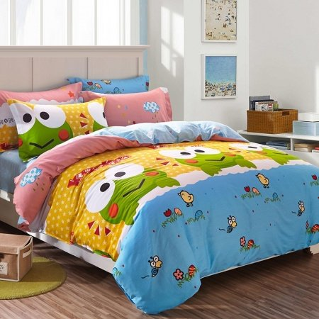Orange Blue and Lime Green Frog Print Cartoon Cute Style 100% Cotton Twin, Full Size Bedding Sets for Kids, Boys and Girls