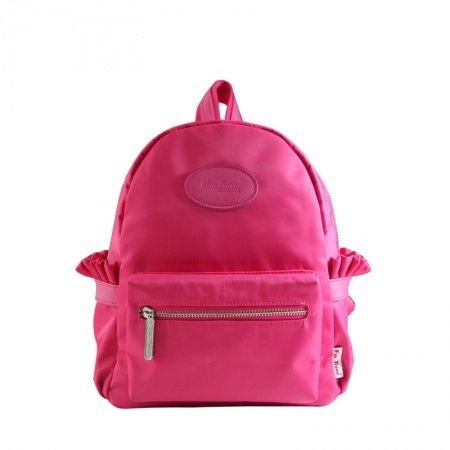 Stylish Simply Chic Korean Style Lady Casual Travel Backpack Plain Peach Red Durable Lightweight Nylon Preppy Book Bag for School