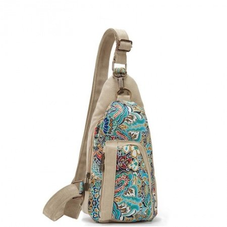 Lightweight Canvas Girls Casual Travel Small Crossbody Sling Chest Bag Personalized Bohemian Vintage Rosemary Flower Hiking Bosom Bag