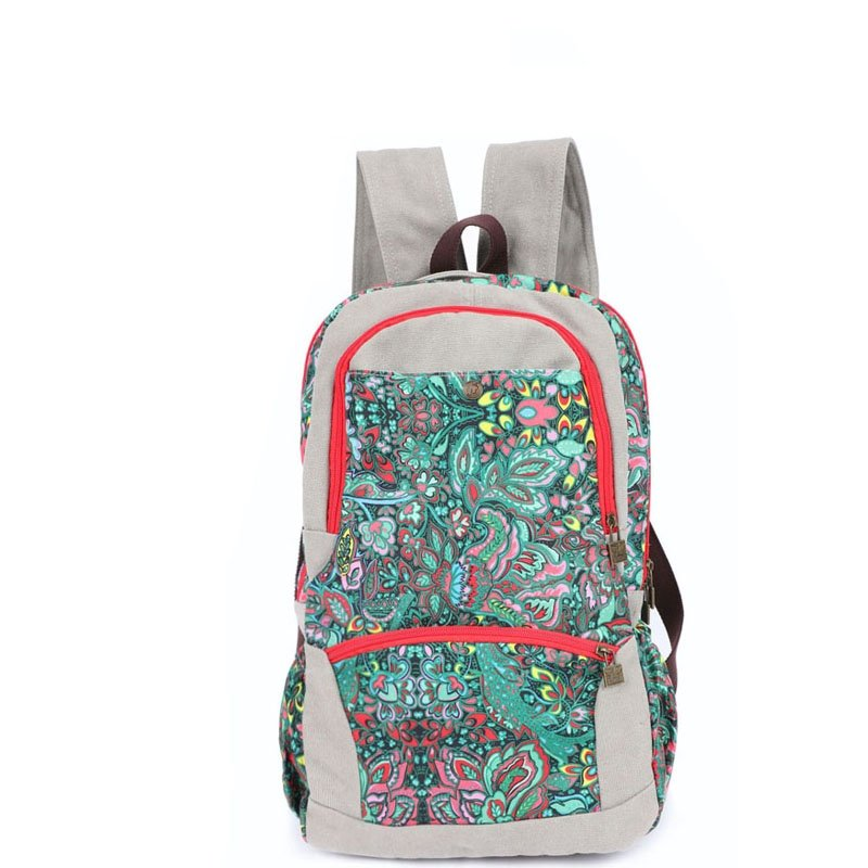 Personalized Casual Women Large Canvas School Backpack Korean Style Preppy Book Bag Vintage Bohemian Colorful Floral 14 Inch Laptop Bag