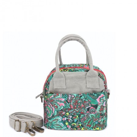 Trend Teal Pink Canvas Box-shaped Crossbody Shoulder Bag Western Floral Print Tote Personalized Casual Girls Small Handle Bag