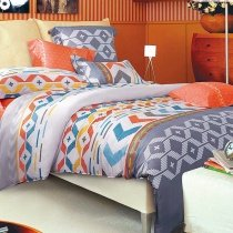 Orange Grey Blue and White Eclectic Style Modern Graphic Aztec Stripe Bohemian Chic 100% Cotton Twin, Full, Queen Size Bedding Sets