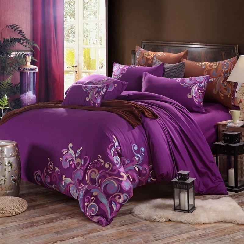 Purple Fancy Swirl Design Modern Bohemian Style Elegant