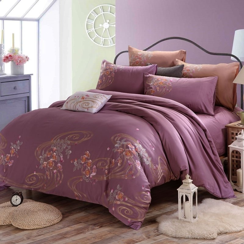 Mauve Taupe Flower Print Scroll Pattern Old World Shabby Chic Western Style 100% Organic Cotton Full, Queen Size Bedding Sets