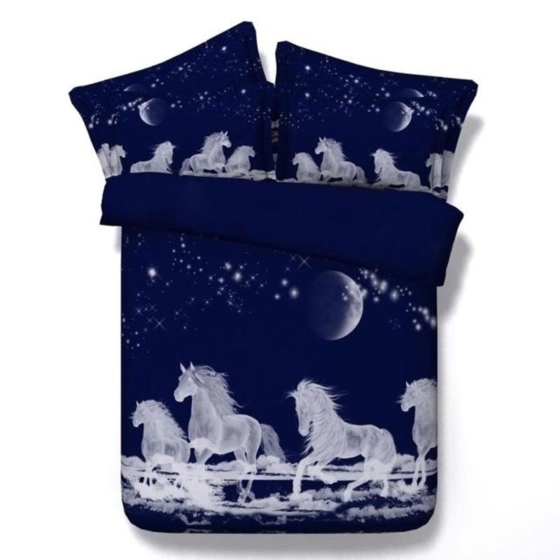 Deep Blue and White Horse Print Galaxy Scene Vintage Farm Animal Unique Modal Fiber Twin, Full, Queen, King Size Bedding Sets for Boys