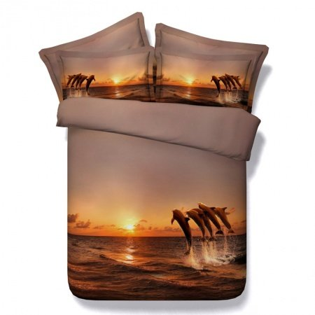 Sunset Orange and Brown Hawaiian Dolphin Marine Life Ocean Scene Tropical Style Twin, Full, Queen, King Size Bedding Sets for Kids