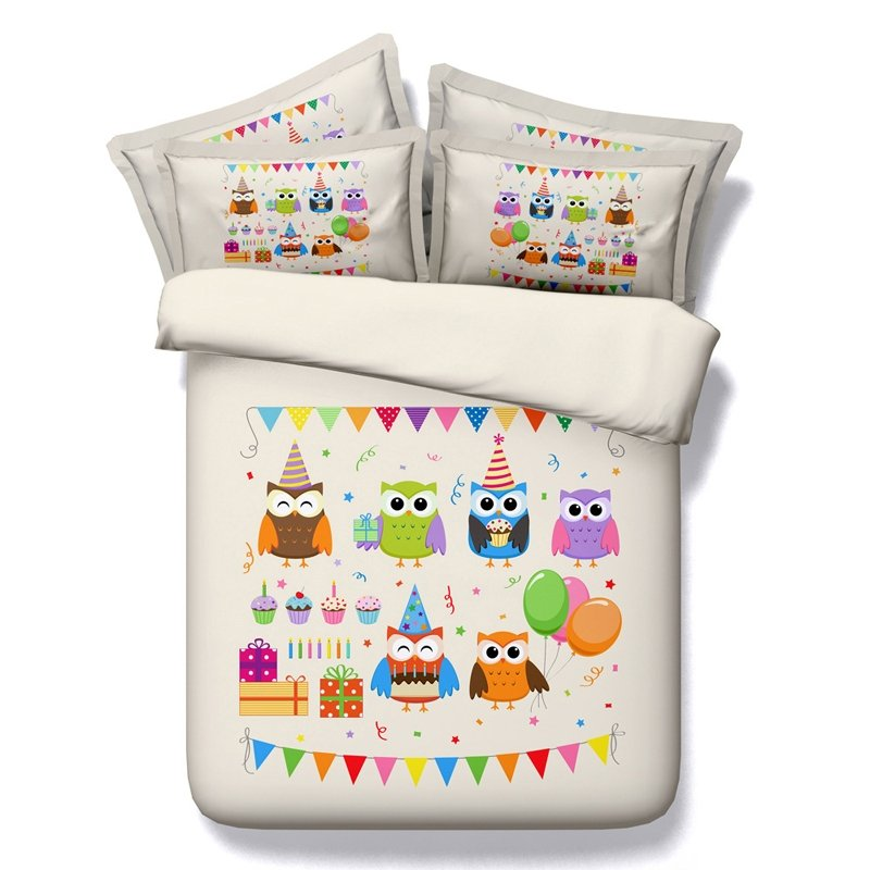 Girls Purple Green and Orange Bright Colorful Owl Print Cute Girly Holiday Style Modal Fiber Twin, Full, Queen, King Size Bedding Sets