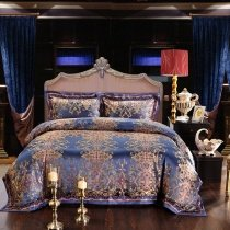 Royal Blue and Gold Retro Baroque Style Exotic Noble Excellence European Royalty Western Jacquard Design Queen Size Bedding Sets