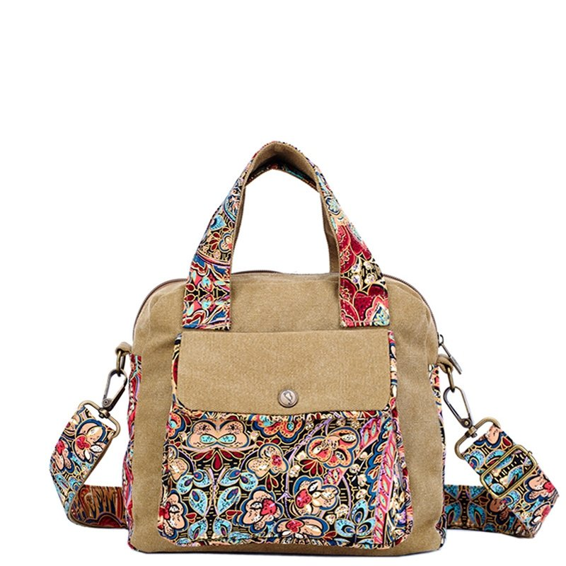 Vintage Durable Canvas Zipper Casual Women Tote Stylish Colorful Bohemian Style Tribal Floral Print Crossbody Shoulder Handle Bag