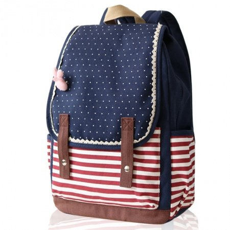 Durable Canvas Junior Preppy School Book Bag Stylish Dark Blue White Red Polka Dot and Stripe Hiking Travel Girls Flap Laptop Backpack