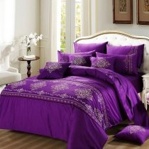 Violet Purple Indian Pattern Luxury Hotel Style Abstract Design Elegant Girls 100% Cotton Damask Full, Queen Size Bedding Sets