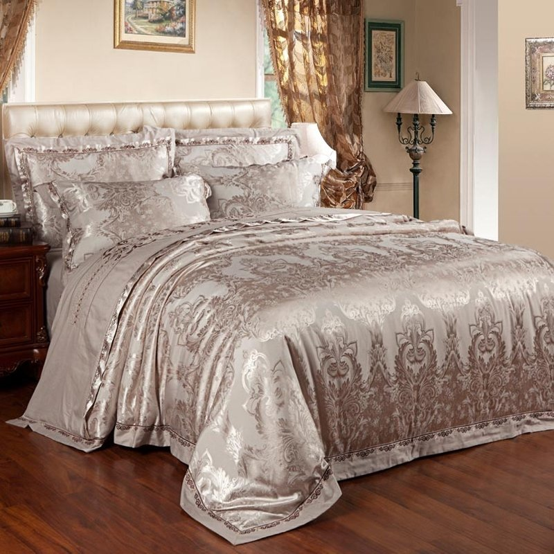 Raw Umber Gothic Pattern Sparkle Vintage Bohemian Style Old World Embroidered Design Jacquard Satin Full, Queen Size Bedding Sets