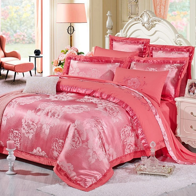 Brink Pink Girls Oriental Flower Pattern Asian Inspired Cute Girly Fashion and Luxury Jacquard Satin Full, Queen Size Bedding Sets