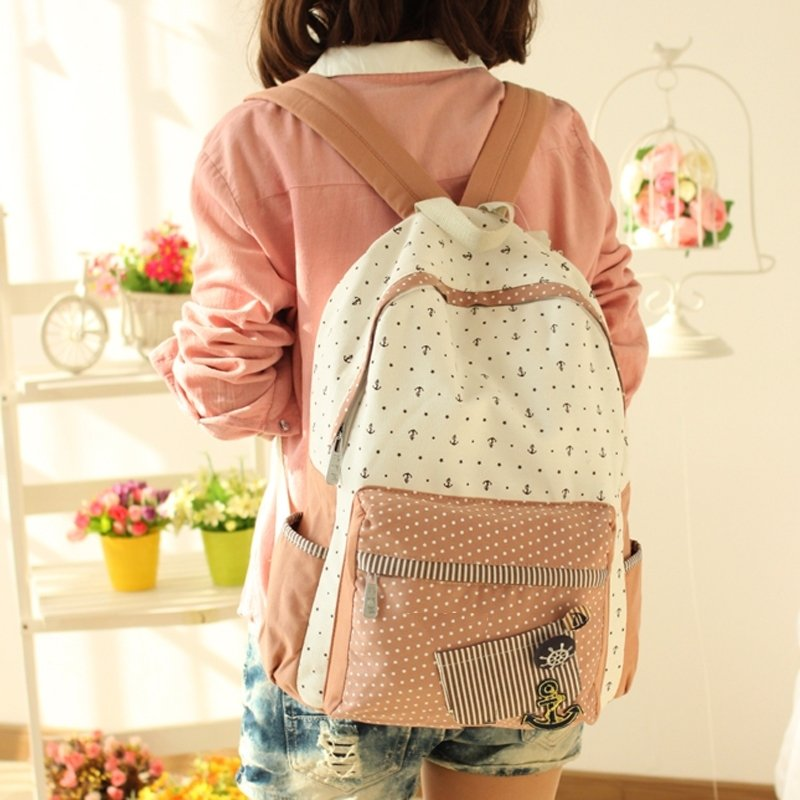 Durable Canvas Fine Girls Preppy School Book Bag Coral Beige Nautical Anchor Polka Dot and Stripe Stylish Zipper 14 Inch Laptop Backpack