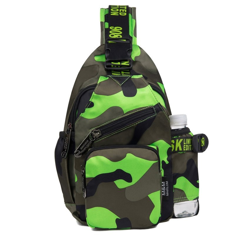 Stylish Lime Green Taupe Durable Oxford Women Casual Travel Crossbody Chest Bag Personalized Military Style Camouflage Sling Backpack