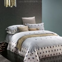 Cool Gray and White Classic Greek Inspired Preppy Style Simply Chic Embroidered Design 100% Cotton Damask Full, Queen Size Bedding Sets