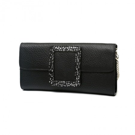 Durable Black Cowhide Leather with Sparkle White Trim Women Flap Evening Clutch Vintage Magnetic Closure Party Crossbody Shoulder Bag