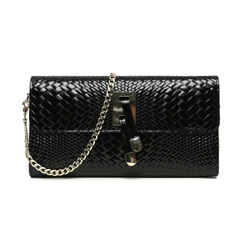 Black Genuine Cowhide Leather Women Evening Party Clutch Wallet Personalized Magnetic Closure Chain Strap Flap Crossbody Shoulder Bag