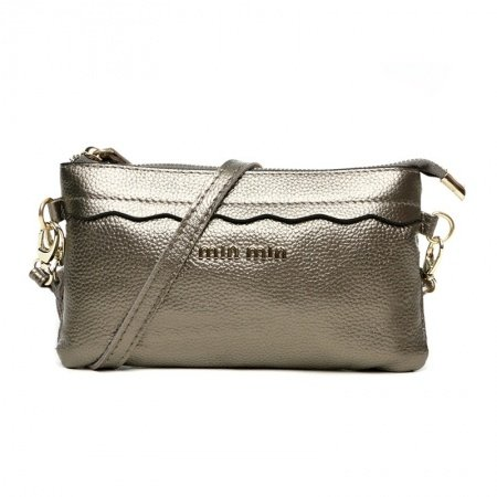 Silver Genuine Cowhide Leather Evening Clutch Wallet Gorgeous Sequined Small Coin Purse Vogue Women Casual Party Crossbody Shoulder Bag